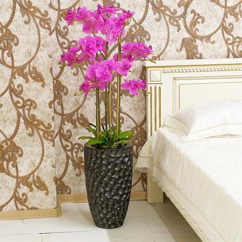 Композиция Орхидея Фаленопсис 6 веток искусственная сиреневая в кашпо 135 см - Фото 2