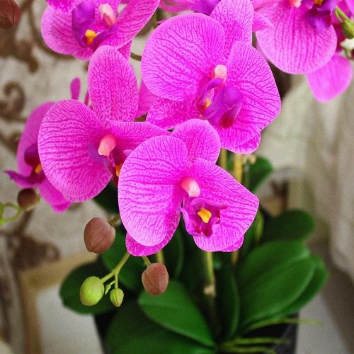 Композиция Орхидея Фаленопсис 6 веток искусственная сиреневая в кашпо 135 см - Фото 3