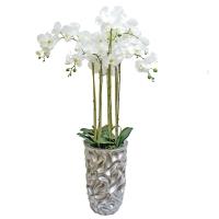 Композиция Орхидея Фаленопсис 7 веток искусственная белая в кашпо 135 см