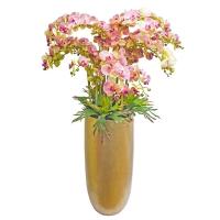Композиция Орхидея Фаленопсис 15 веток искусственная фиолетово-зеленая в кашпо 170 см