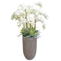 Композиция Орхидея Фаленопсис 15 веток искусственная белая в кашпо 170 см