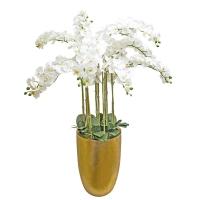 Композиция Орхидея Фаленопсис 11 веток искусственная белая в керамическом кашпо 150 см