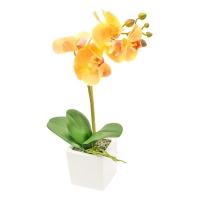 Орхидея Фаленопсис 1 ветка искусственная желтая в керамическом кашпо куб 44 см