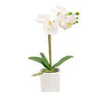 Орхидея Фаленопсис 1 ветка искусственная белая в керамическом кашпо куб 44 см