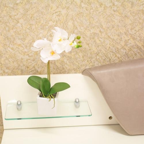 Орхидея Фаленопсис 1 ветка искусственная белая в керамическом кашпо куб 44 см - Фото 2