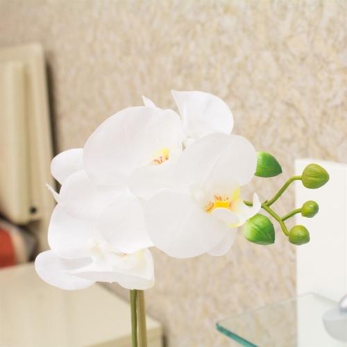 Орхидея Фаленопсис 1 ветка искусственная белая в керамическом кашпо куб 44 см - Фото 3