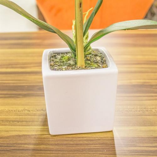 Орхидея Фаленопсис 1 ветка искусственная белая в керамическом кашпо куб 44 см - Фото 4