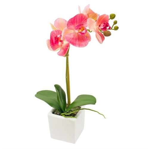 Орхидея Фаленопсис 1 ветка искусственная розовая в керамическом кашпо куб 44 см