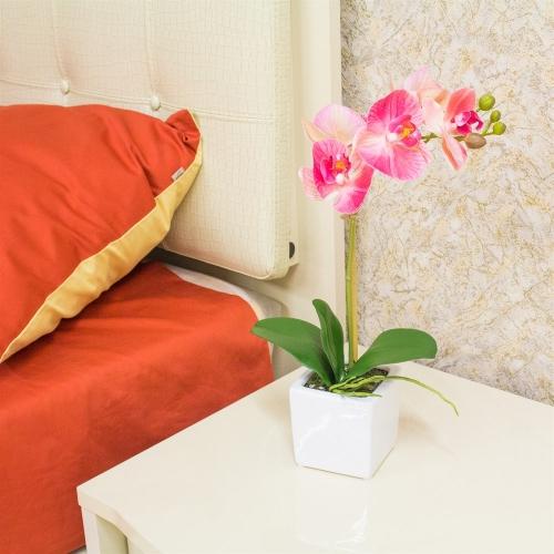 Орхидея Фаленопсис 1 ветка искусственная розовая в керамическом кашпо куб 44 см - Фото 2