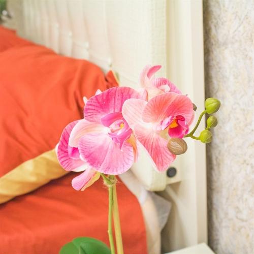 Орхидея Фаленопсис 1 ветка искусственная розовая в керамическом кашпо куб 44 см - Фото 3