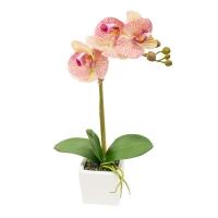 Орхидея Фаленопсис 1 ветка искусственная бело-розовая в керамическом кашпо куб 44 см