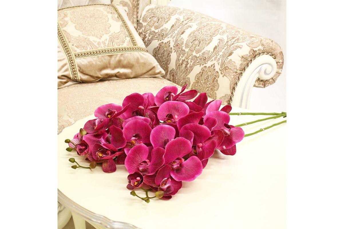 Орхидея Фаленопсис искусственная бургундия 115 см (real touch) - Фото 2