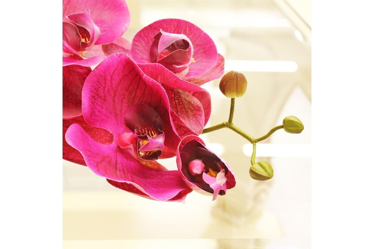 Орхидея Фаленопсис искусственная бургундия 115 см (real touch) - Фото 3
