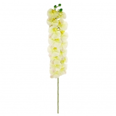 Орхидея Фаленопсис искусственная бело-зеленая с розовым 100 см (real touch)