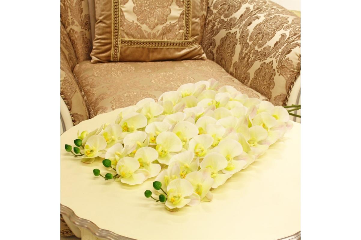 Орхидея Фаленопсис искусственная бело-зеленая с розовым 100 см (real touch) - Фото 2