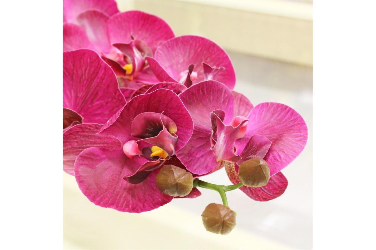 Орхидея Фаленопсис искусственная фуксия 100 см (real touch) - Фото 3