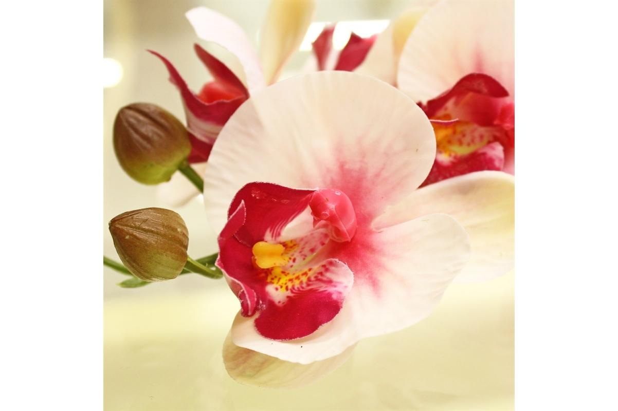 рхидея Фаленопсис искусственная бело-розовая 100 см (real touch) - Фото 3