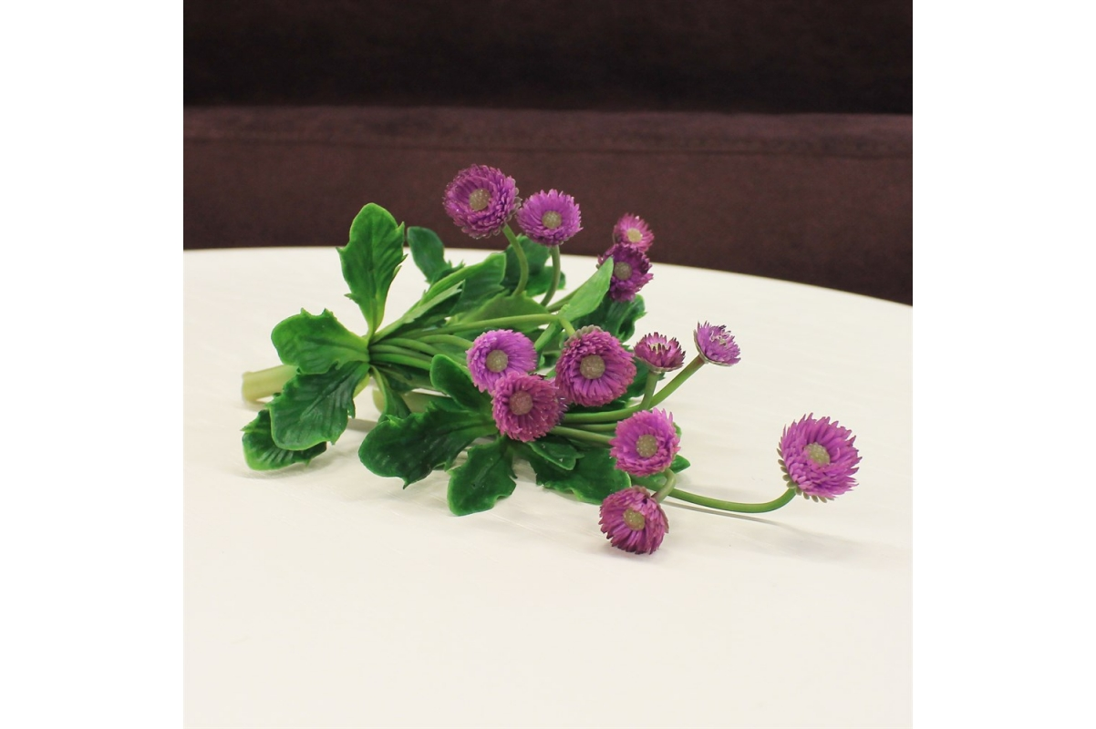 Маргаритка куст искусственный фиолетовый 12 см - Фото 2
