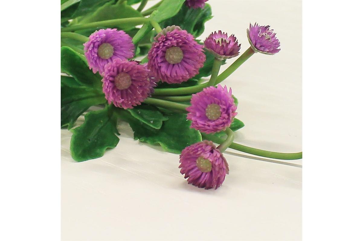 Маргаритка куст искусственный фиолетовый 12 см - Фото 3