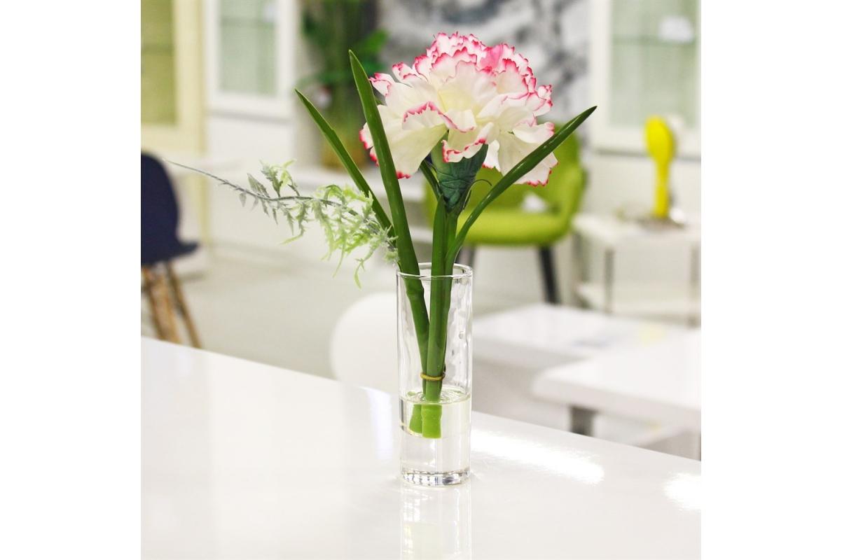 Композиция Гвоздика в стеклянной вазе 22 см - Фото 2