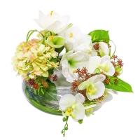 Композиция из Амариллиса, Гортензией и Орхидеей искусственная в вазе реверс 45 см