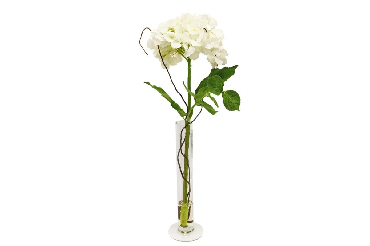 Композиция Гортензия искусственная белая в вазе цилиндр с водой 57 см