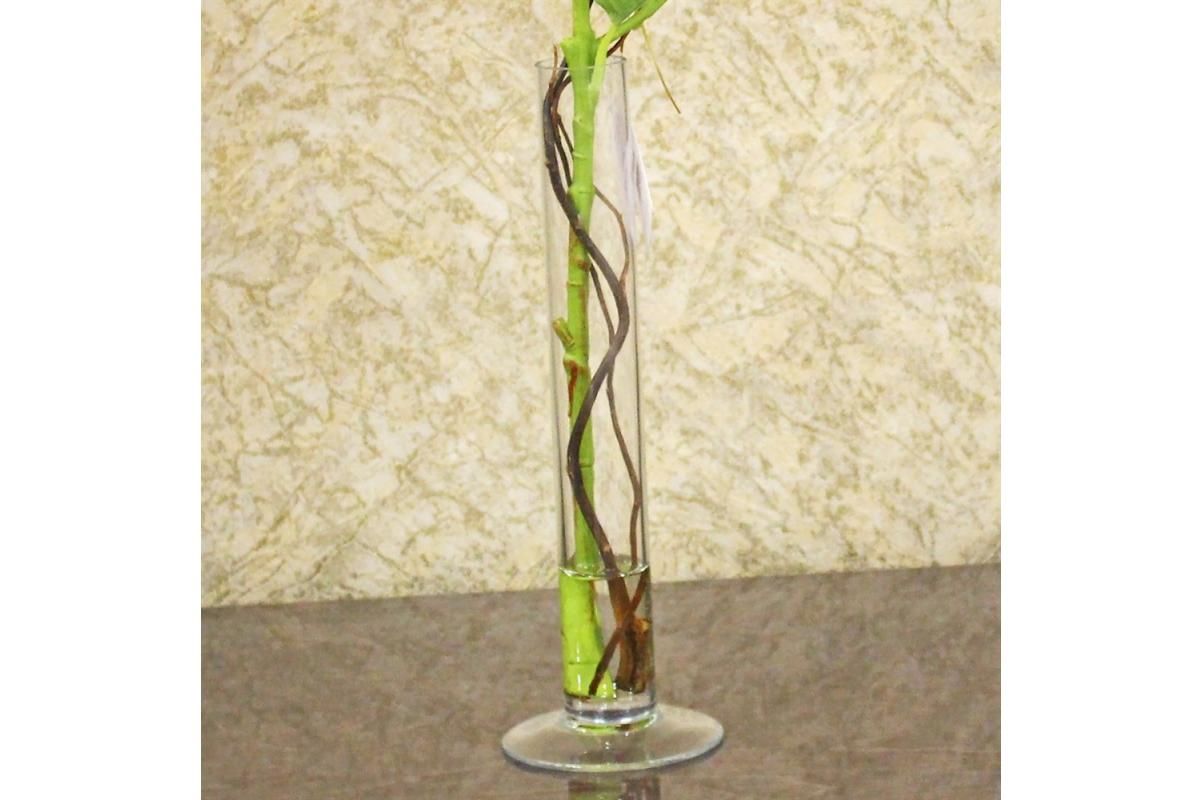 Композиция Гортензия искусственная белая в вазе цилиндр с водой 57 см - Фото 4