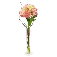 Композиция Гортензия искусственная светло-розовая в вазе цилиндр с водой 57 см