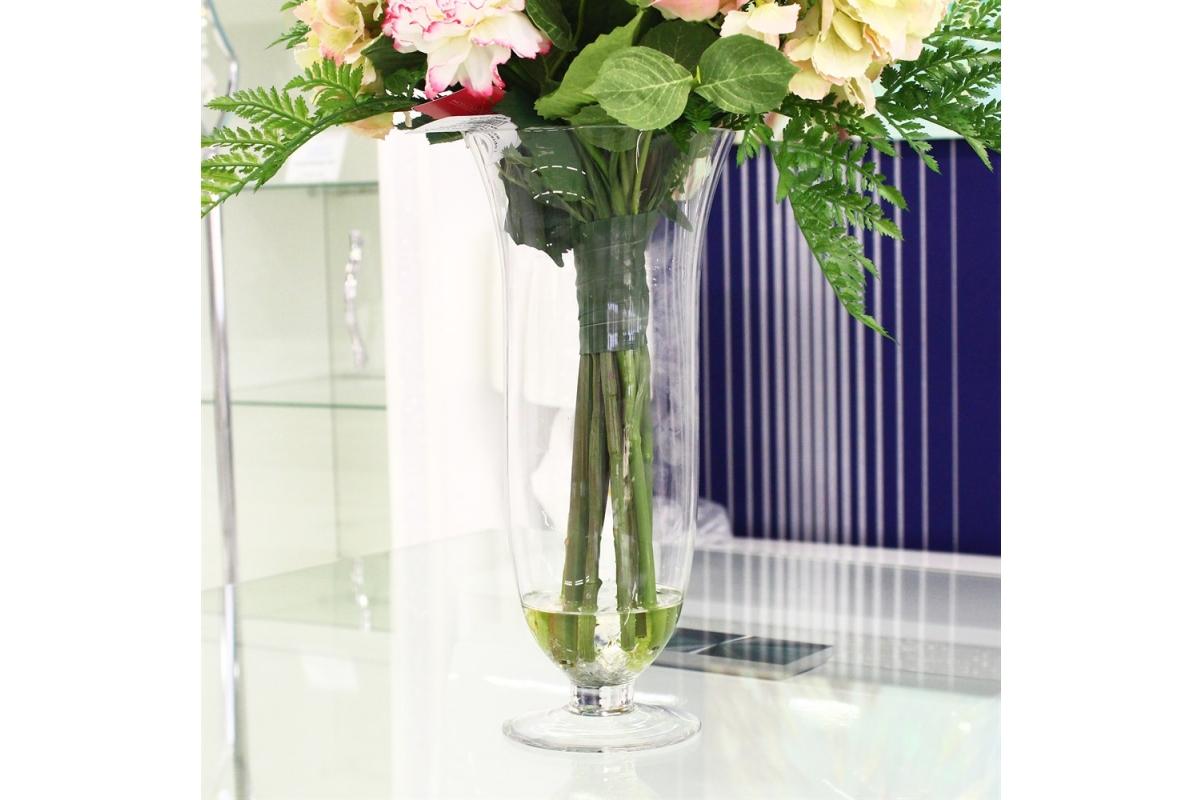 Композиция из Стрелиции, Калл и Георгин искусственная в вазе с водой 105 см - Фото 4