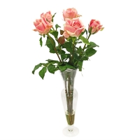 Композиция из Роз искусственная в малой стеклянной вазе леди с водой 69 см