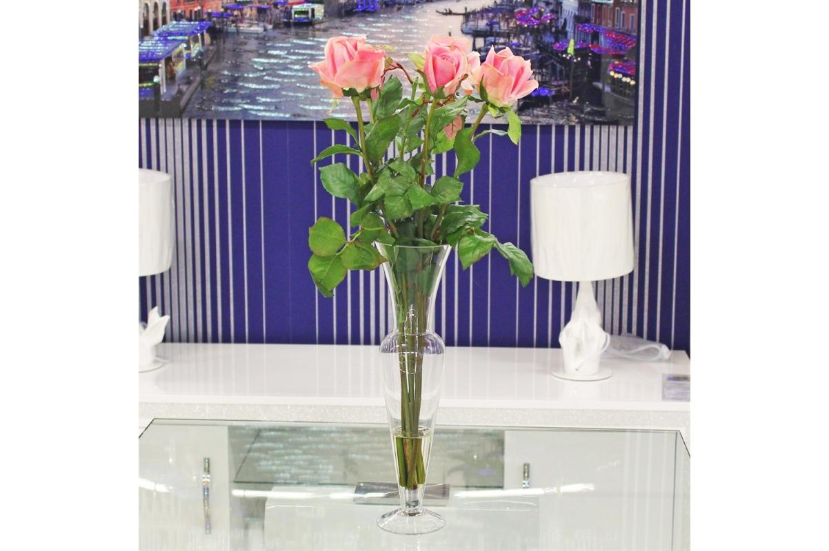 Композиция из Роз искусственная в малой стеклянной вазе леди с водой 69 см - Фото 2