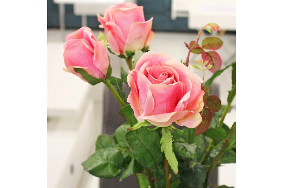 Композиция из Роз искусственная в малой стеклянной вазе леди с водой 69 см - Фото 3