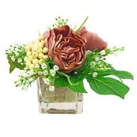 Композиция из Пионов и Ягод искусственная темно-розовая в вазе 25 см