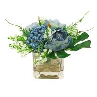 Композиция из Пионов и Ягод искусственная голубая в вазе 25 см