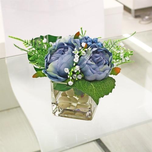 Композиция из Пионов и Ягод искусственная голубая в вазе 25 см - Фото 2