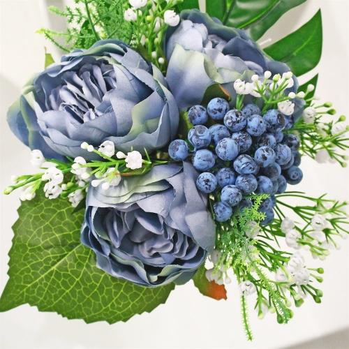 Композиция из Пионов и Ягод искусственная голубая в вазе 25 см - Фото 3