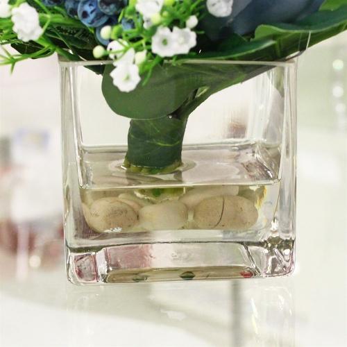 Композиция из Пионов и Ягод искусственная голубая в вазе 25 см - Фото 4