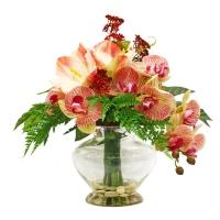 Композиция из Орхидей и Амариллиса искусственная в вазе 43 см