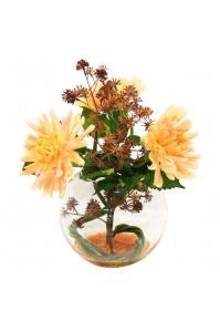 Композиция из Георгина и Аралии искусственная в стеклянной вазе 40 см
