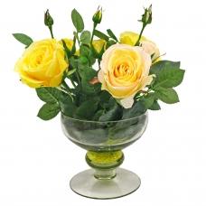Композиция из Роз искусственная желто-розовая в вазе креманка 30 см