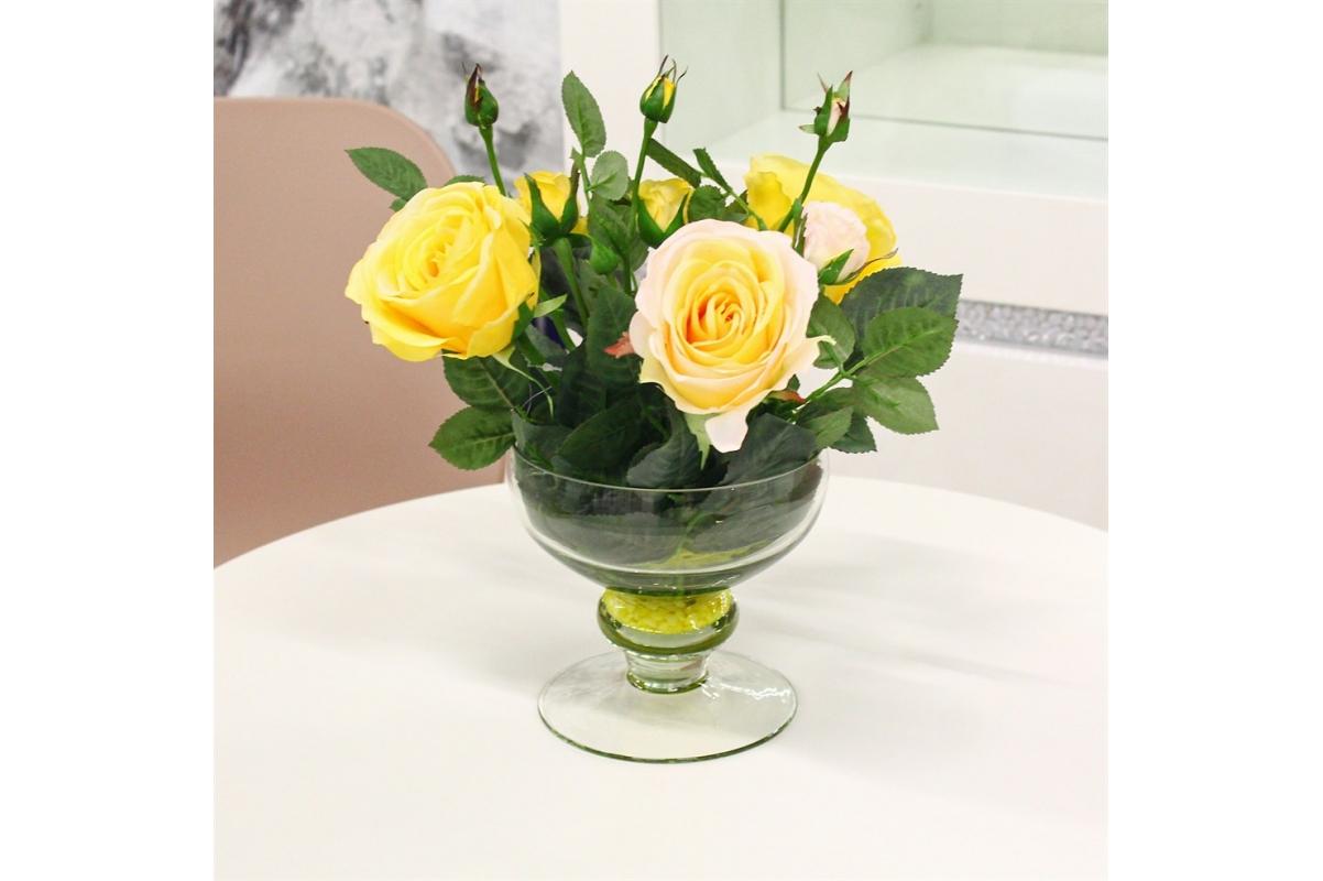 Композиция из Роз искусственная желто-розовая в вазе креманка 30 см - Фото 2