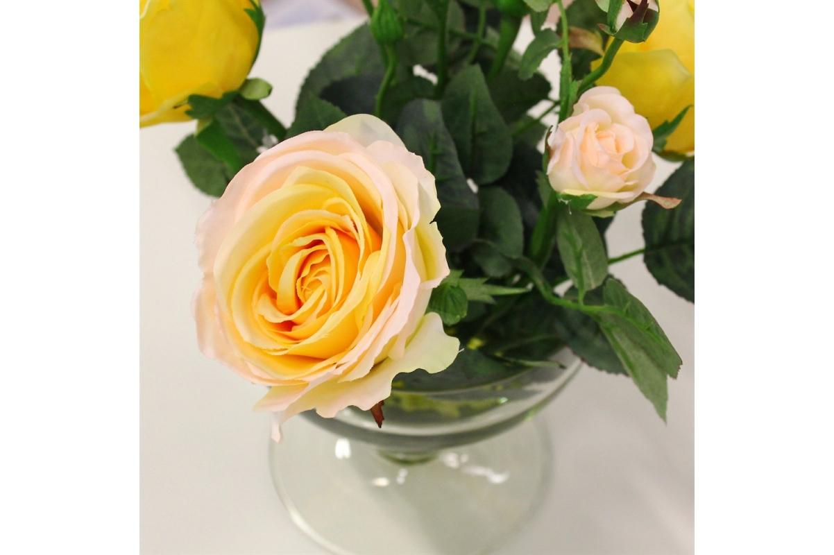 Композиция из Роз искусственная желто-розовая в вазе креманка 30 см - Фото 3