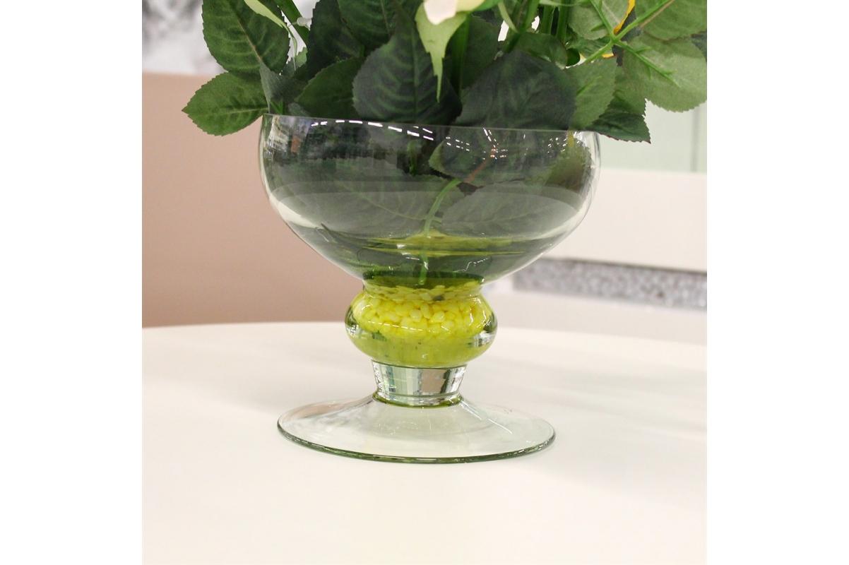 Композиция из Роз искусственная желто-розовая в вазе креманка 30 см - Фото 4