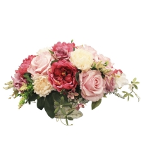 Композиция из Роз и Пионов искусственная в вазе лодочка 30 см