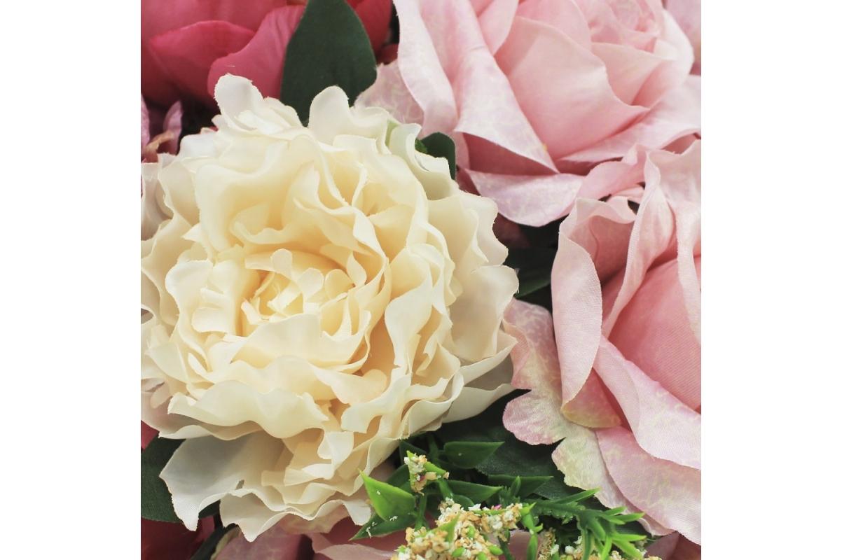 Композиция из Роз и Пионов искусственная в вазе лодочка 30 см - Фото 4
