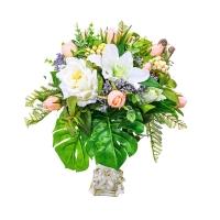 Композиция из Роз и Лилии искусственная в средней вазе 50 см