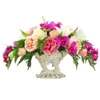 Композиция из Пионов, Роз и Орхидеи искусственная микс в греческой вазе 42 см