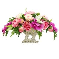 Композиция из Пионов, Роз и Орхидеи искусственная микс в греческой вазе 38 см