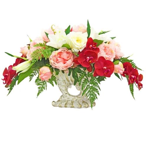 Композиция Пионов, Роз и Орхидеи искусственная микс в греческой вазе 40 см