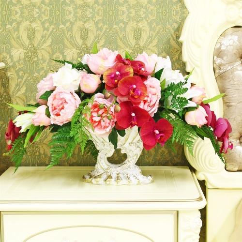 Композиция Пионов, Роз и Орхидеи искусственная микс в греческой вазе 40 см - Фото 2